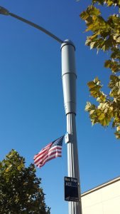 Example of a smart light pole in north San Jose.