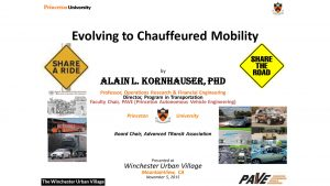 Evolving to Chauffeured Mobility was the theme of Dr. Kornhauser's presentation.