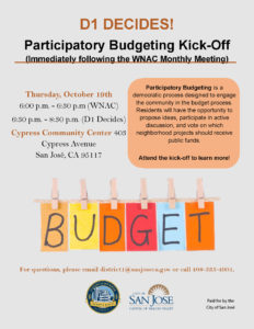 The flyer providing details of the D1 Participatory Budget kick-off meeting, which will be held on the same evening as the WNAC meeting at the same location.