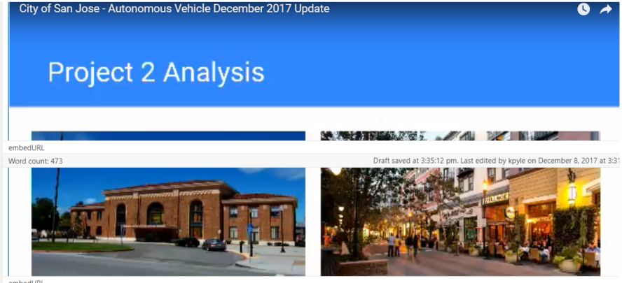 City of San Jose Autonomous Vehicle Update - From Diridon to Santana Row.