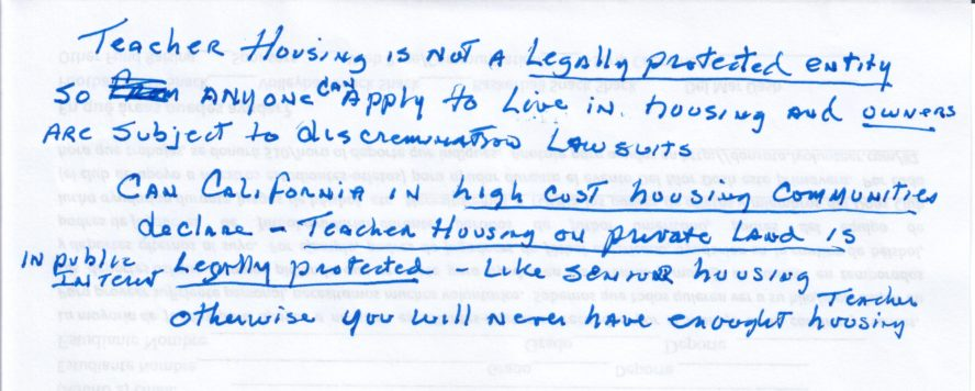 Teacher Housing not Legally Protected