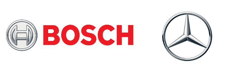 The Bosch and Mercedes logos are together in this image.