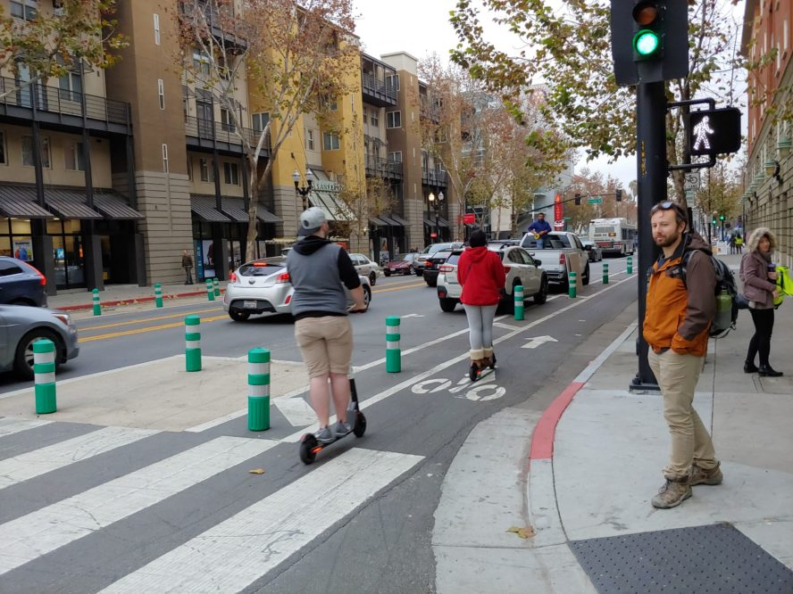 Some protected bike lanes in downtown San Jose.