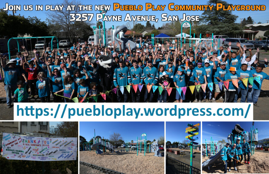 Collage of the March 2014 build day of the Sharks' playground at what is now going to be the new park at 3257 Payne Avenue.